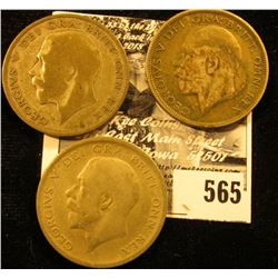 1920, 1924, & 1929 Great Britain Silver Half Crowns, VG.