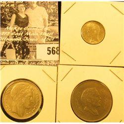 """AH1401-1981 """"The Hashmite Kingdom of Jordan"""" One Hundred Fils, VF; 1931 France Silver 10 Francs, AU;"""