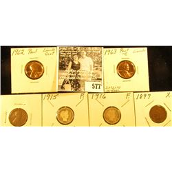1944 P Shell Case Cent, Good; 1962 P & 63 P Proof Lincoln Cents; 1915 P & 16 P Barber Dimes, Good; &
