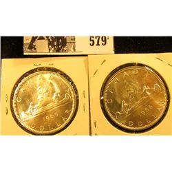 1965 & 66 Canada Silver Dollars, Both BU.