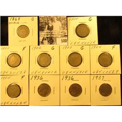 1868 Shield Nickel, Good; 1900, 01, 02, 03, 04, & 05 Liberty Nickels, Good; (2) 1936 P & 37 P EF-AU
