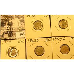 1942 P Mercury Dime, BU; 1949 D, 59 P, & 64 D BU & 1963 D AU Roosevelt Dimes.