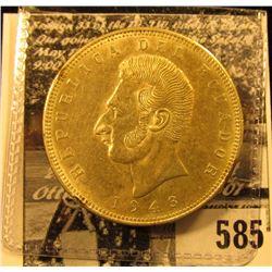1943 World War II Silver Five Sucres from the Republic of Ecuador, .5787 oz. Silver, .720 Fine. AU w