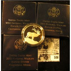 "(3) 2003 ""Elk"" National Wildlife Refuge Centennial Medal in original box with literature, 1.5"" diame"