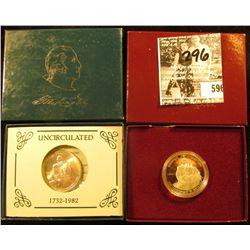 1982 D & 1982 S George Washington BU & Proof .900 fine Silver Commemorative Half Dollars in orginal