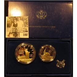 1986 S Statue of Liberty 2-Piece U.S. Proof Set, Half-Dollar & Dollar, in original box with literatu