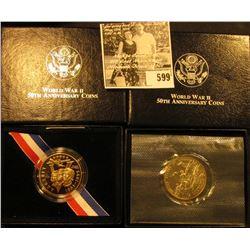 1991-1995 Proof & Uncirculated World War II 50th Anniversary Commemorative Half-Dollars, both in ori