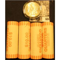 (4) 1999 D Original BU Bank-wrapped Rolls of Delaware Statehood Quarters; & 1886 P BU Morgan Silver
