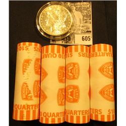 (4) 2004 D Original BU Bank-wrapped Rolls of Florida Statehood Quarters; & 1885 O BU Morgan Silver D