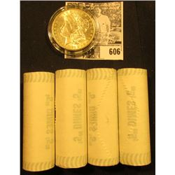 (4) 1999 D Original BU Bank-wrapped Rolls of New Jersey Statehood Quarters; & 1883 O BU Morgan Silve