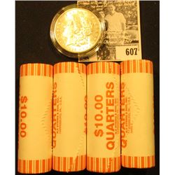 (4) 2007 D Original BU Bank-wrapped Rolls of Utah Statehood Quarters; & 1896 P BU Morgan Silver Doll