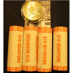 (4) 2000 D Original BU Bank-wrapped Rolls of New Hampshire Statehood Quarters; & 1896 P BU Morgan Si