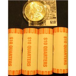 (4) 2001 D Original BU Bank-wrapped Rolls of Rhode Island Statehood Quarters; & 1898 P BU Morgan Sil