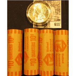 (4) 1999 D Original BU Bank-wrapped Rolls of Pennsylvania Statehood Quarters; & 1887 P BU Morgan Sil