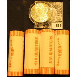 (4) 2002 D Original BU Bank-wrapped Rolls of Pennsylvania Statehood Quarters; & 1889 P BU Morgan Sil