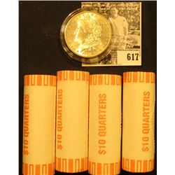 (4) 2001 D Original BU Bank-wrapped Rolls of North Carolina Statehood Quarters; & 1884 O BU Morgan S