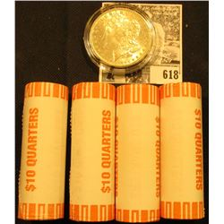 (4) 2000 D Original BU Bank-wrapped Rolls of Virginia Statehood Quarters; & 1884 O BU Morgan Silver