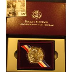 1999 P Dolley Madison Gem BU .900 Fine Commemorative Silver Dollar in original box of issue with lit