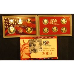 2003 S U.S. Silver Proof Set in original box with both error and corrected COA.