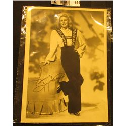 "5"" x 7"" Autographed B & W Photograph of Ginger Rogers, signed ""Sincerely Ginger Rogers""."