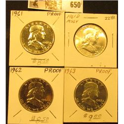 1961 P, 62 P, & 63 P Proof & 1961 D BU Franklin Half Dollars.