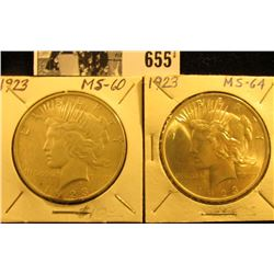 (2) 1923 P U.S. Silver Peace Dollars, both Brilliant Uncirculated.