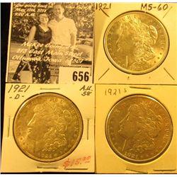 1921 P, D, & S U.S. Silver Morgan Dollars, AU-BU.