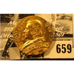 """Sanctvs Pivs P.P.X."", ""1903-1914"". Gold-colored Papal Medal, 25mm."
