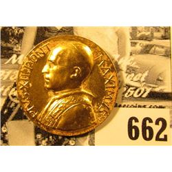 """Pivs.XII Pont.Maximvs"", ""1939-1958"", Gold-colored Papal Medal, 25mm."
