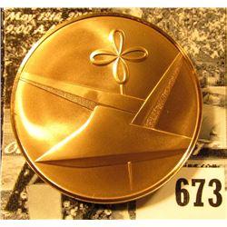 1976 Iowa American Revolution Bicentennial Bronze Medal, Stylized plow reverse, BU, 39mm.