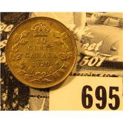 1920 Canada Silver Dime, Choice AU.