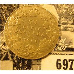1908 Canada Silver Half Dollar, VG.