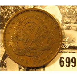 "1837 Canada City Bank One Penny Token, ""Province De Bas Canada/Deaux Sous"", VF."