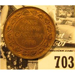 1911 Canada Large Cent, Red-Brown AU.