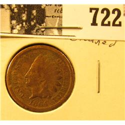 "1864 ""L"" U.S. Indian Head Cent, cleaned, Good."