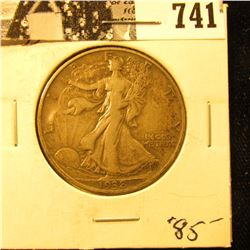 1938 D Walking Liberty Half Dollar, Fine++.