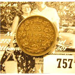 1891 Canada Silver Quarter, EF. Catalog $900.