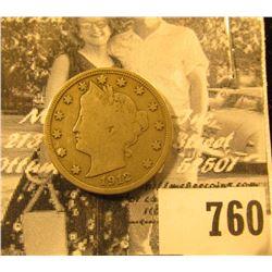 1912 S Liberty Nickel, Fine.