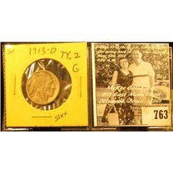 1913 D Type II Buffalo Nickel, retains half of the Buffalo's horn, Good.