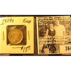 1924 S Buffalo Nickel, Fine. Half of horn present.
