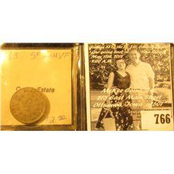 "1883 U.S. Shield Nickel, VF. Ex ""Catich Estate/Dean Oakes/Numismatist/Iowa City, Iowa"" Collection. I"