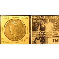 1928 P U.S. Silver Peace Dollar, EF-AU.