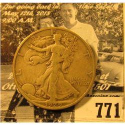 1929 S Walking Liberty Half Dollar, VG.