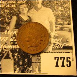 1903  Indian Head Cent, Brown AU-Unc.