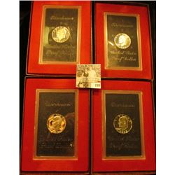 (2) 1971 S & (2) 72 S Silver Proof Eisenhower Dollars, all in original plastic cases, all but one ha