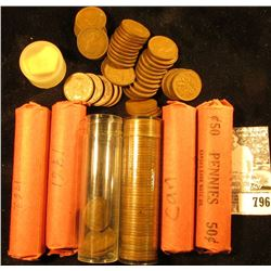 1951, 55, 57, 60, 61, & 62 Solid Date Rolls of circulated Canada Maple Leaf Cents.