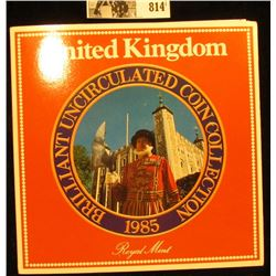 1985 United Kingdom Uncirculated Coin Collection in original holder of issue.