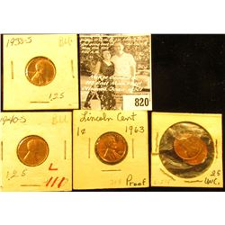 1938S BU, 40S BU, 63P Proof, 69P BU, & 69S BU Lincoln Cents.