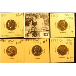 1962 P, 63 P, 68 S, 70 S, & 72 S U.S. Proof Jefferson Nickels.