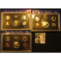 1969 S, 70 S, & 72 S U.S. Proof Sets. Original as issued.
